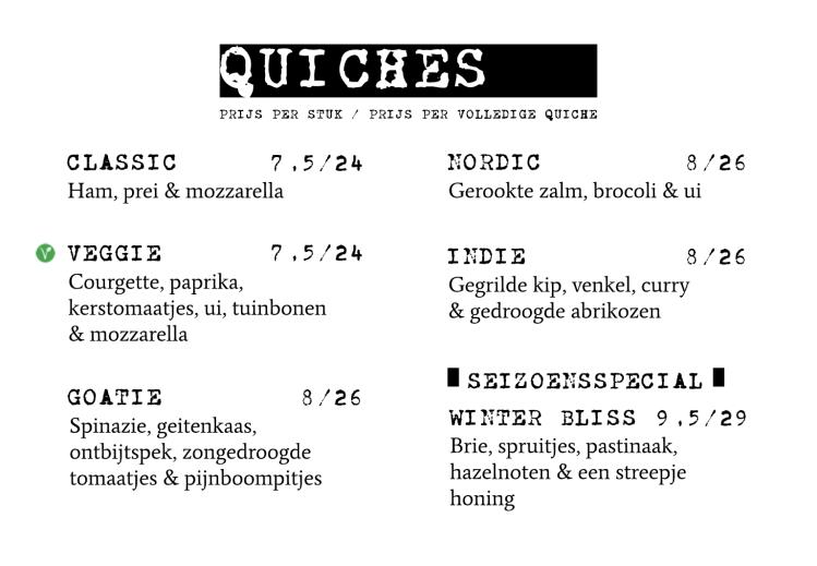 Menu quiche take-out